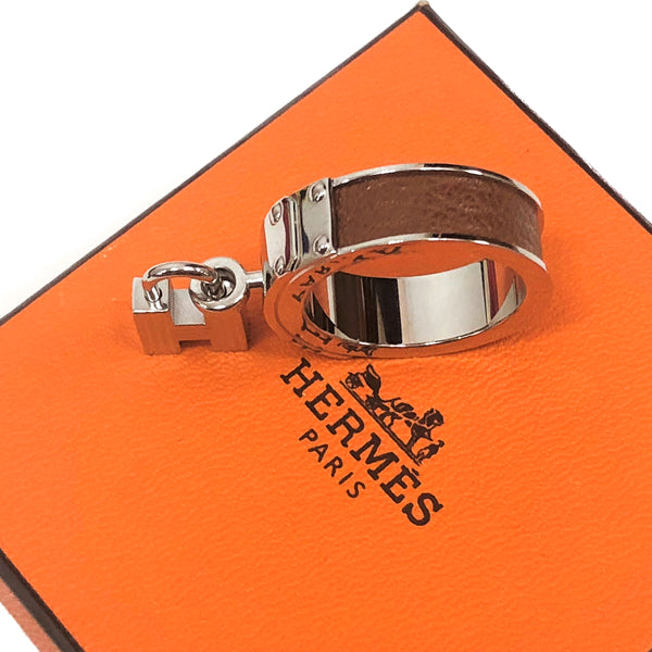 HERMES Kelly H Lizard Leather Silvertone Scarf Ring w/Box