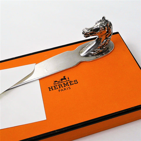 Hermes Letter Opener Oversized Horse Head Silverplate w/BOX