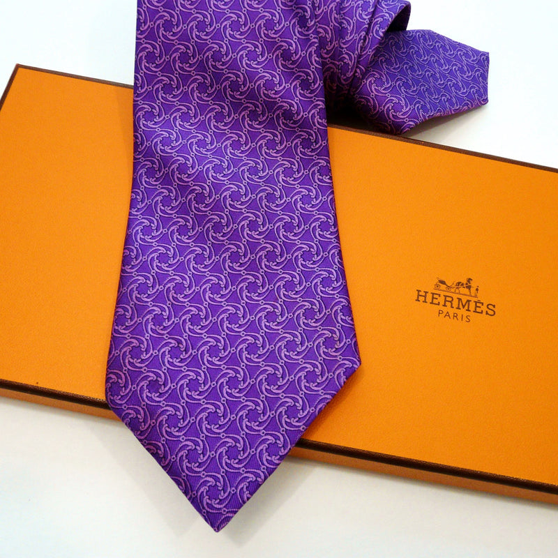 HERMES Paris Silk Tie 7113 FA Purple