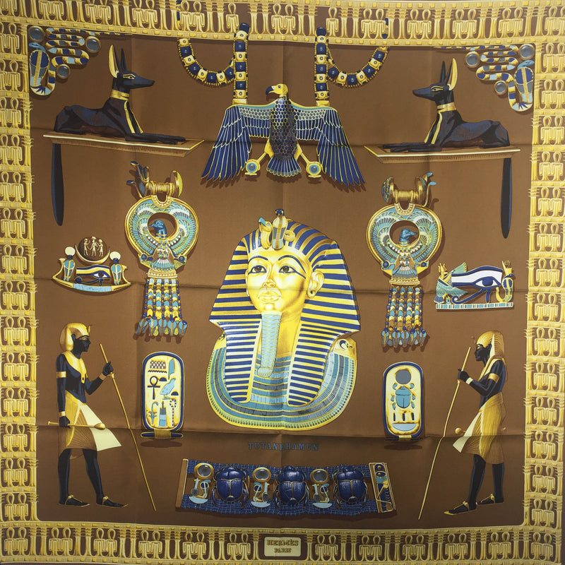 Tutankhamun Hermes Silk Scarf in lovely brown