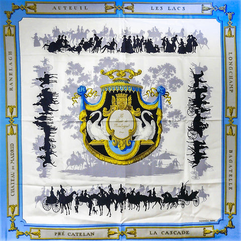 Hermes Silk Scarf Le Bois de Boulogne by Hugo Grygkar - First issue