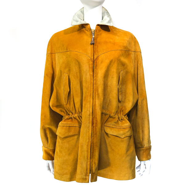 Hermès Parka in 100% calf suede and silk in ocher yellow