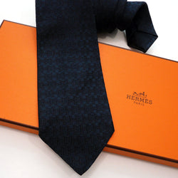 H and Stirrup Faconnee HERMES Tie Black Navy