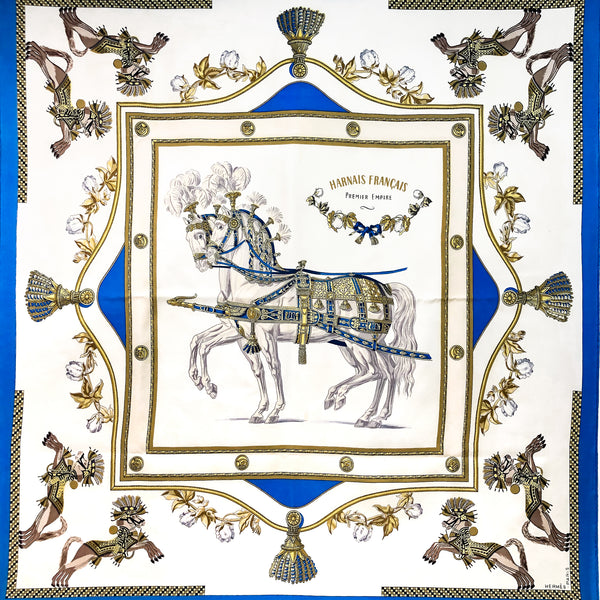 Harnais Francais Hermes Scarf by Hugo Grygkar 90 cm Silk Twill Early Issue