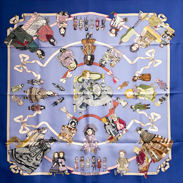Hello Dolly Hermes silk scarf in periwinkle colorway