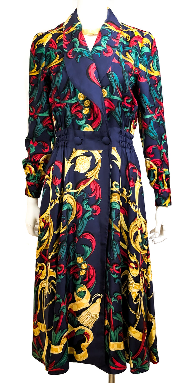 Le Mors a la Conetable Vintage Hermes Silk Dress Navy Sz 38