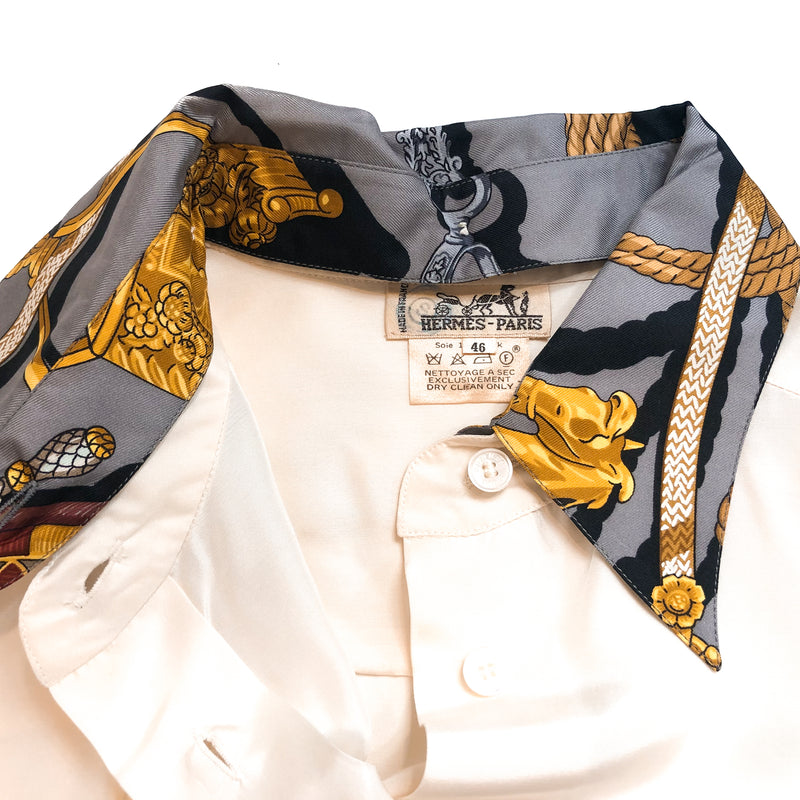 Hermes Silk Blouse/Shirt with Memoire d'Hermes w/Detachable Collar, Cuffs & Cufflinks