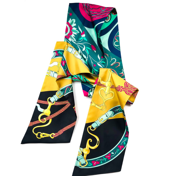 Hermes Maxi Twilly Scarf Festival des Amazons Reversible UNWORN