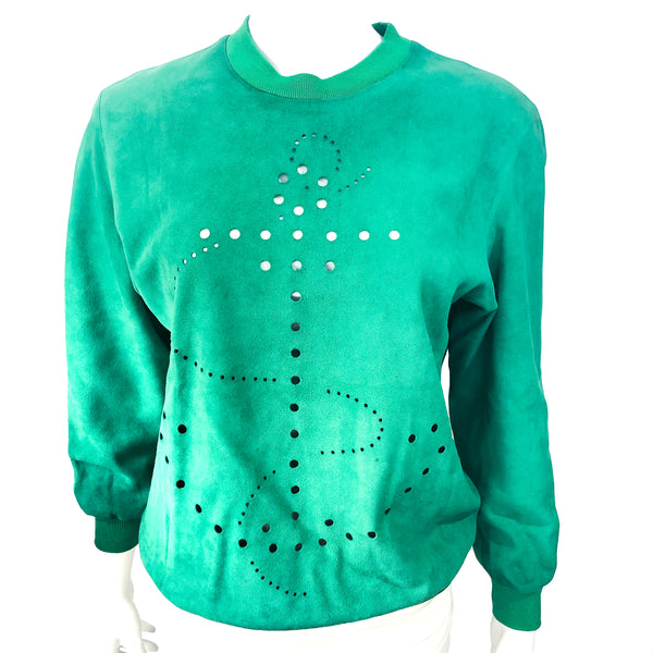 Hermes Suede Womens Top Green with Cutouts - RARE