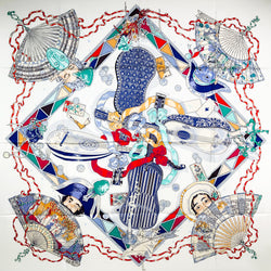 Au Clair de la Lune Hermes silk scarf was designed by Sandra Laroche in 2003