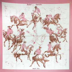 Hermes Silk Scarf Ballet Equestre in pink and white