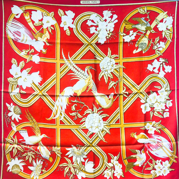 Caraibes Hermes Silk Scarf Early Red Colorway