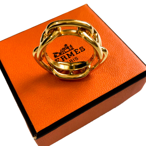 Hermes Scarf Ring Chaine D'Ancre Gold Tone w Box