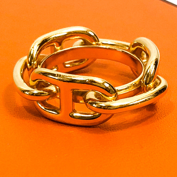Hermes Scarf Ring Chaine D'Ancre Gold Tone