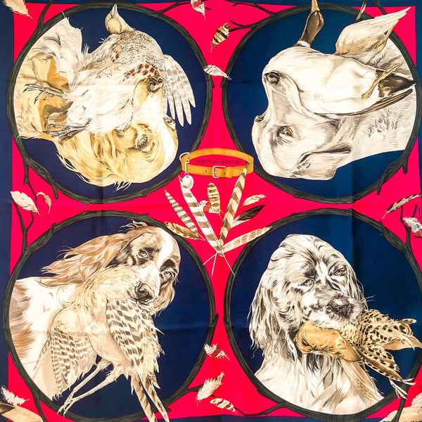 Hermes Silk Scarf Chiens au Rapport Raspberry Red and Blue