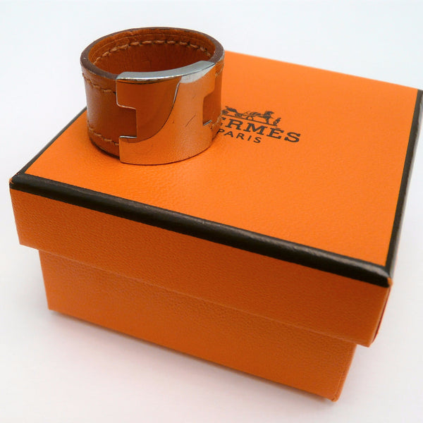 Hermes H Orange Leather and Metal Ring