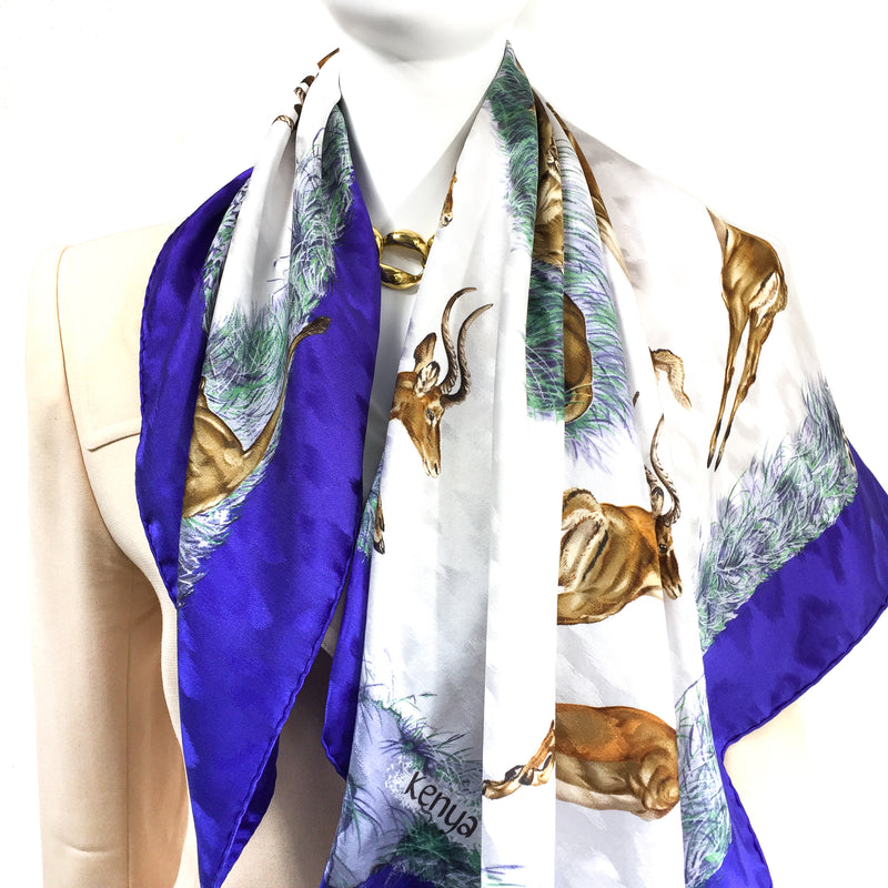 Kenya Hermes Silk Jacquard Carre by Robert Dallet