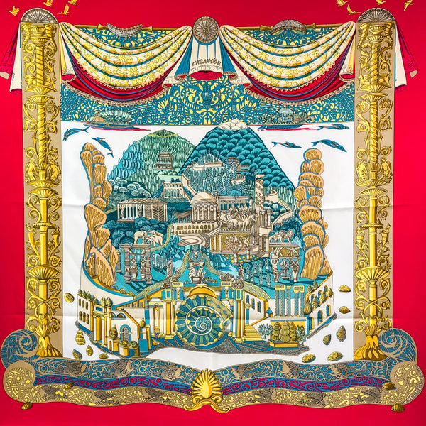 L'Atlantide Hermes Silk Scarf By Annie Faivre - Red