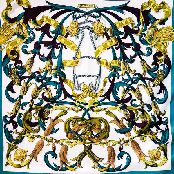 Hermes Le Mors a la Conetable Silk Scarf Teal and White Early Issue