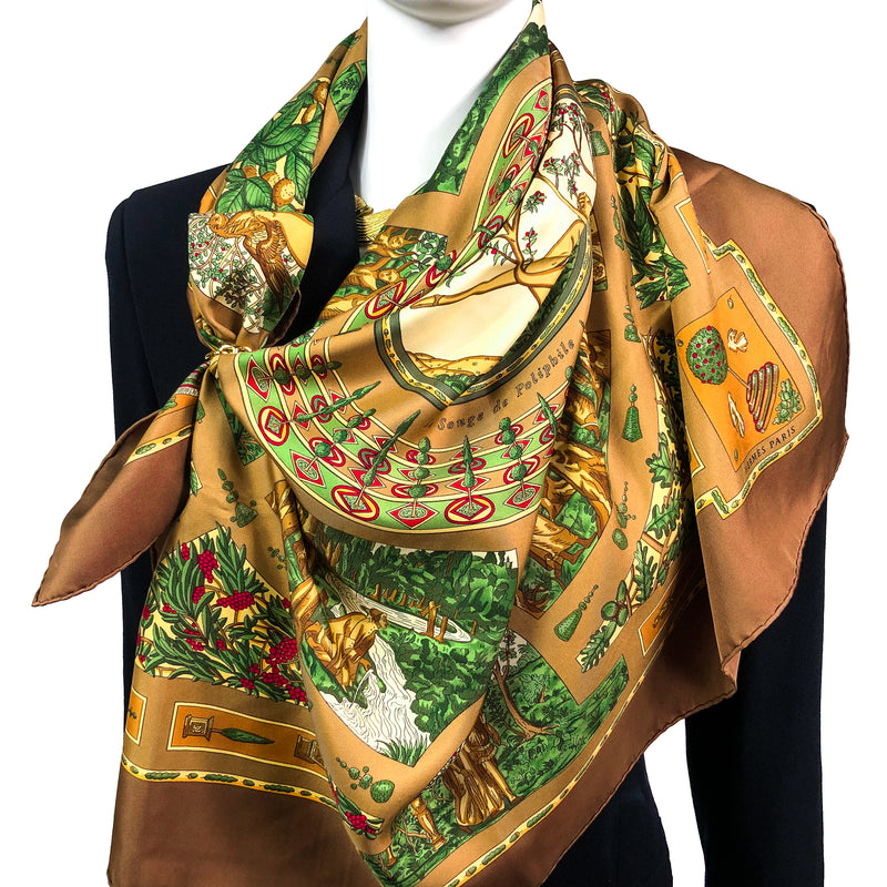 Le Songe de Poliphile Hermes silk scarf in brown tones