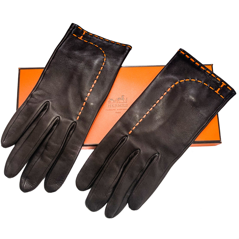 "Hermes Brown and Orange ""H"" Leather Gloves Sz 8 w/Box"