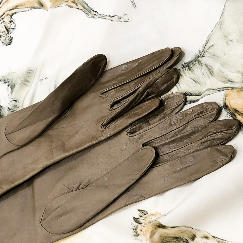 Hermes Kid Leather Long Gloves in rich taupe color
