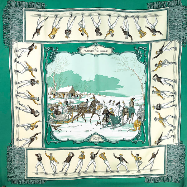 Les Plaisirs du Froid Hermes Silk Scarf Pristine Condition - Teal