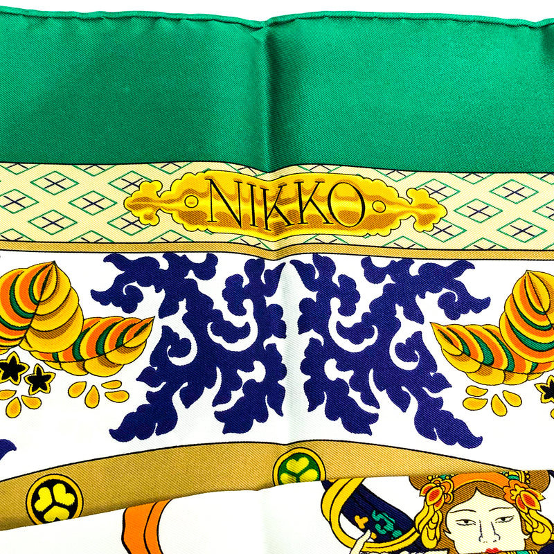 Nikko Hermes silk scarf (100% silk) close up of border