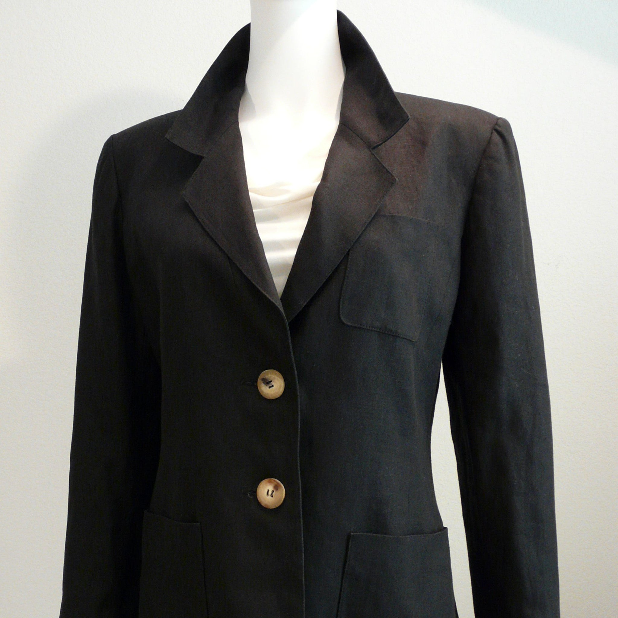 Hermes Paris Black Linen Jacket