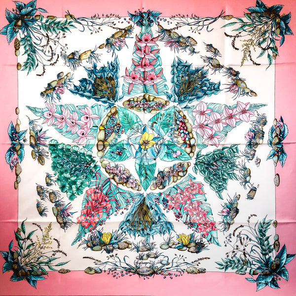 Pythagore Hermes Silk Scarf by Zoe Pauwels in Pink