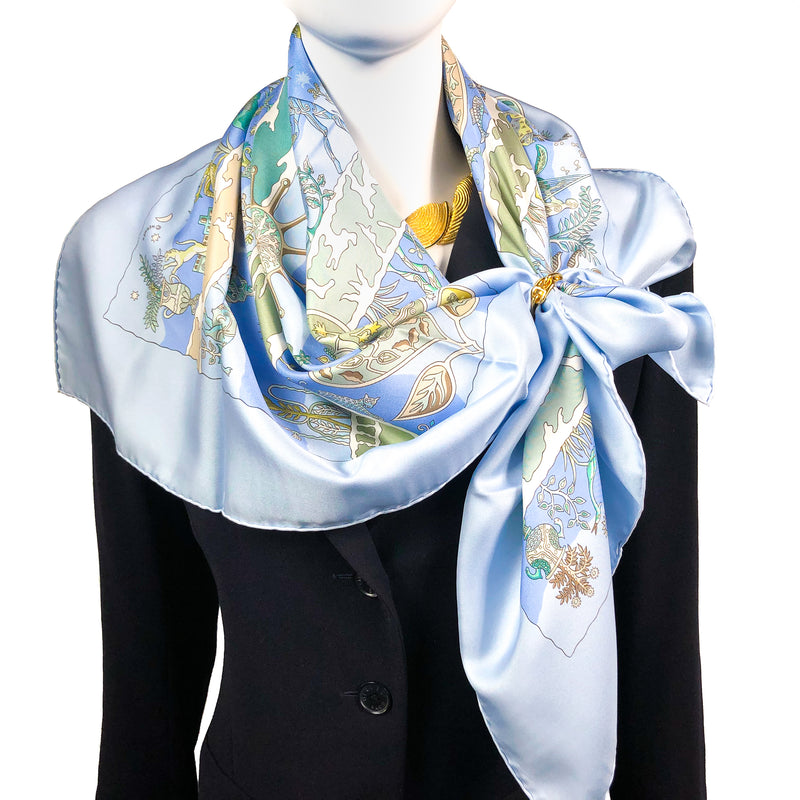 Rives Fertiles Hermes silk scarf (100% silk) - copyright and care tag