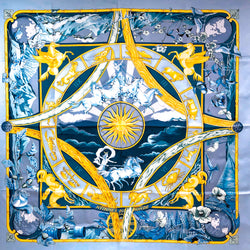 Rythmes du Mondes Hermes silk scarf in theme appropriate blue and gold