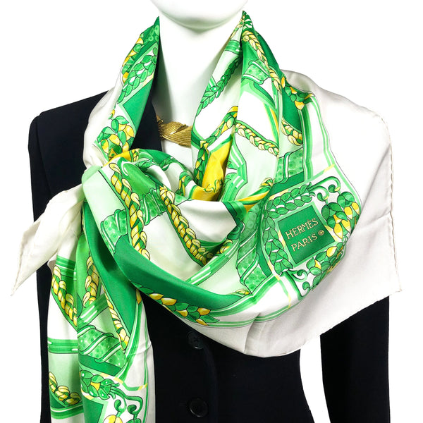 Scala Hermes Paris scarf in green and white looks great with black