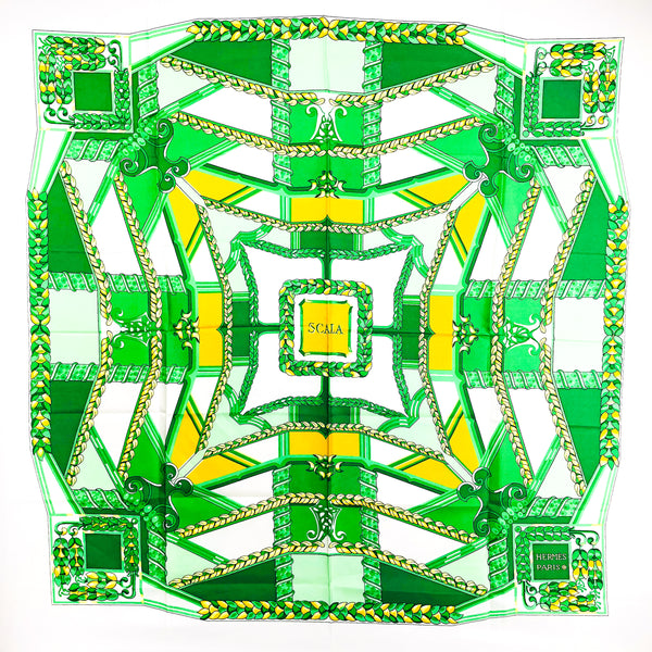 Scala Hermes Silk Scarf Green and White - RARE