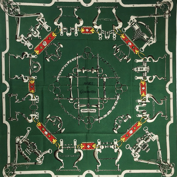 Mors et Gourmettes Hermes silk Jacquard scarf in a gorgeous forest green colorway