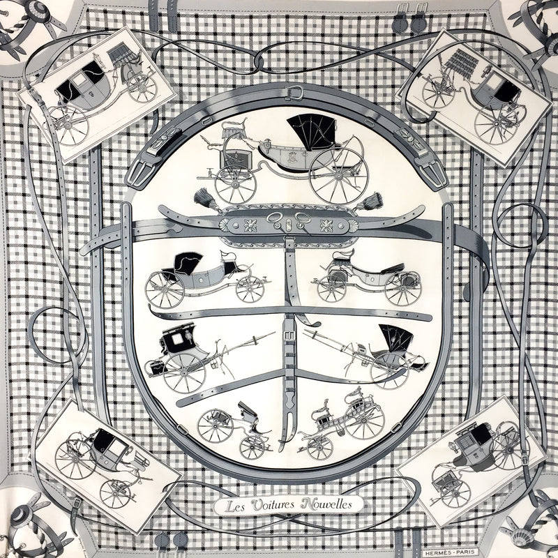 Hermes Silk Scarf Les Voitures Nouvelles Monochrome Early Issue