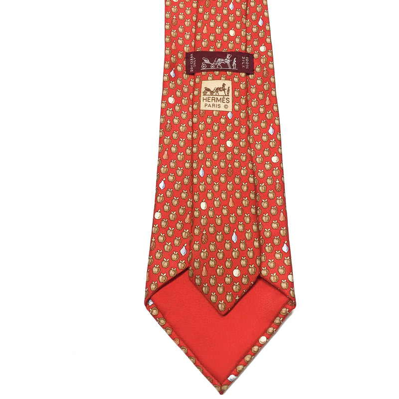 Hermes Silk Twill Tie 7914 MA Fruit Red care tag and copyright