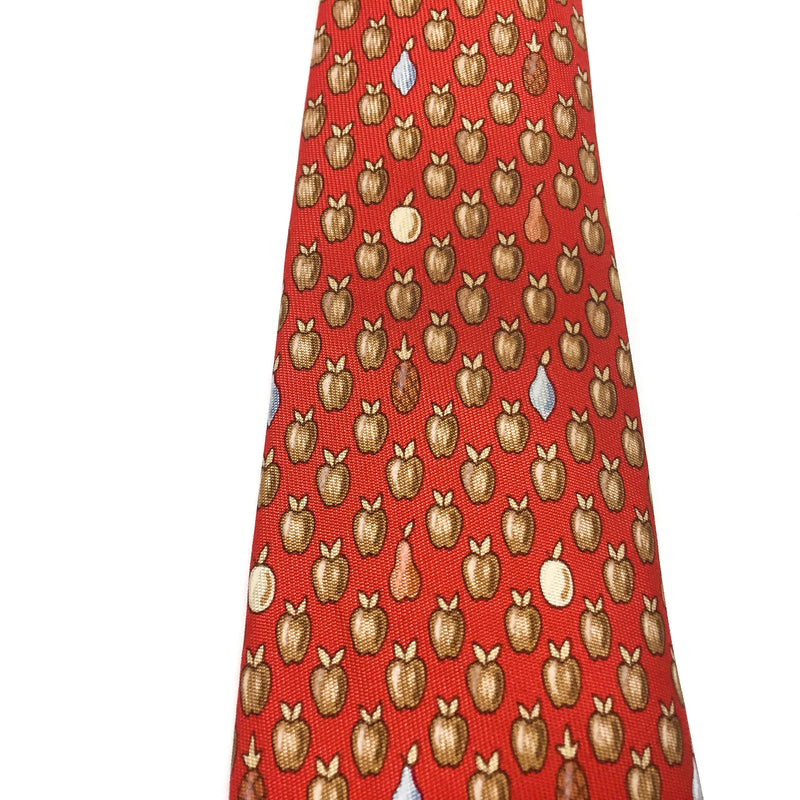 Hermes Silk Twill Tie 7914 MA Fruit Red close up
