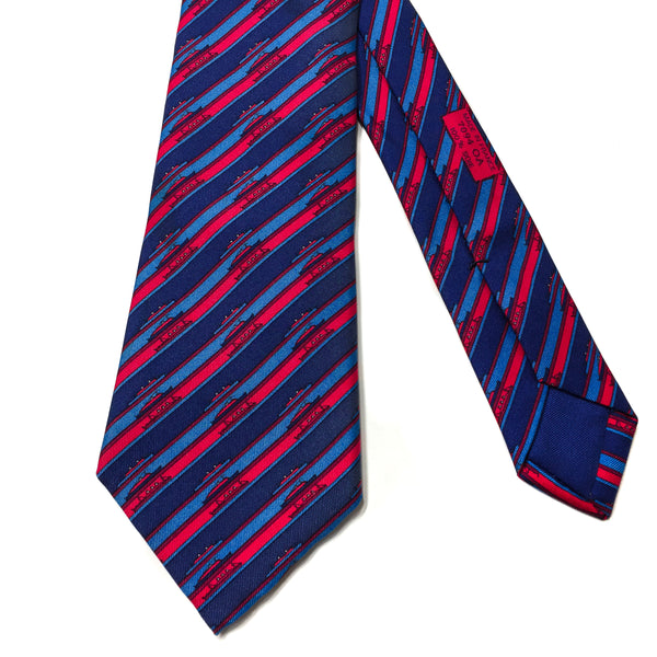 Hermes Silk Necktie 7094 OA Ships Red Blue