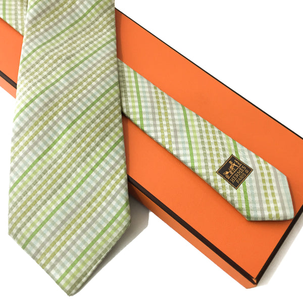 Hermes Silk Necktie Faconnee Plaid w/Box