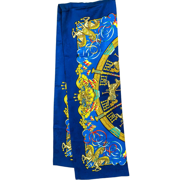 Stunning Long Luna Park Hermes Reversible Silk Scarf - very rare
