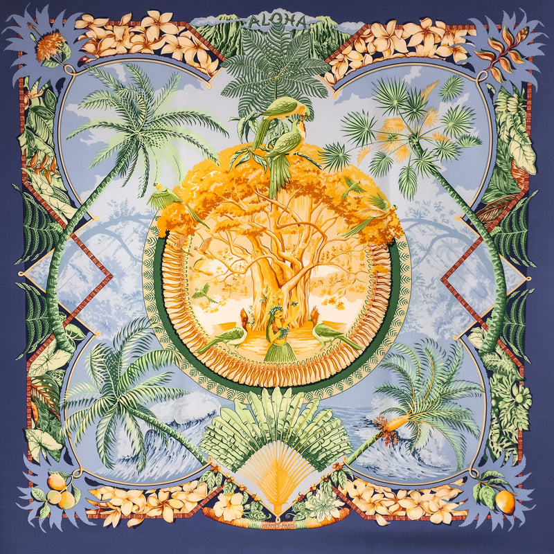 Hermes Silk Scarf Aloha with blue border