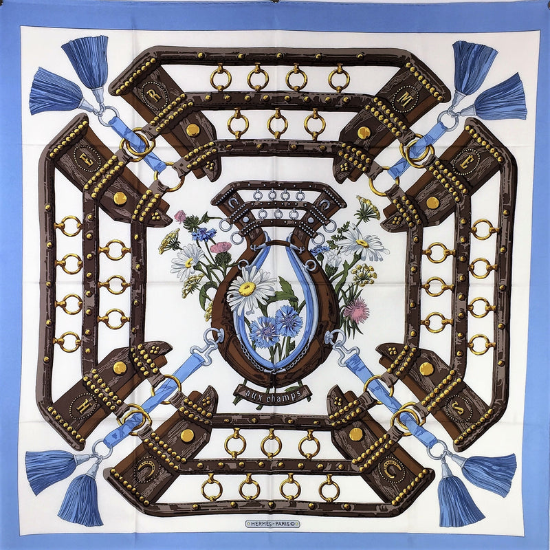 Vintage Hermes Silk Scarf Aux Champs Original Issue