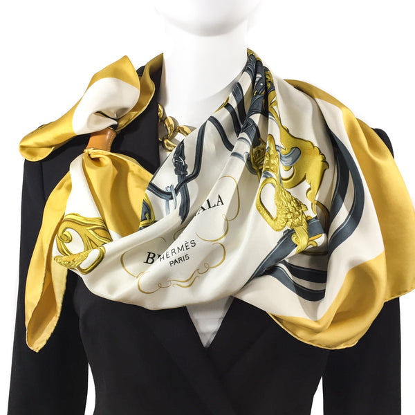 Brides de Gala Hermes Scarf in Golden yellow on white