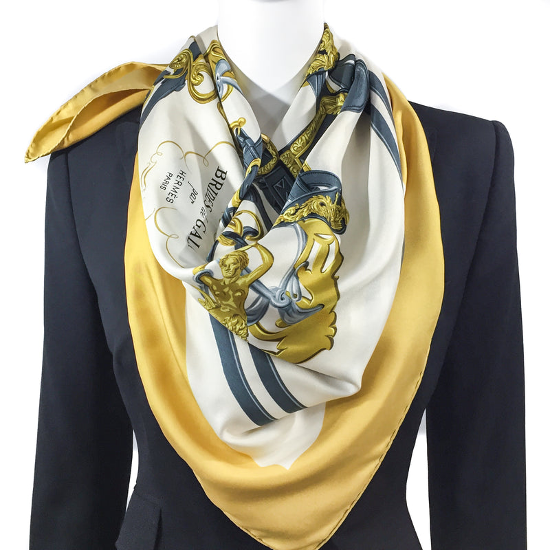 Brides de Gala Hermes 90cm Silk Twill Scarf with black hermes jacket