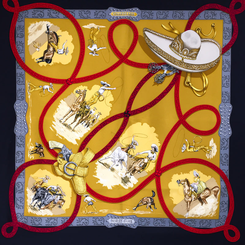 Hermes Silk Scarf Charreada with Black Border 90 cm Twill