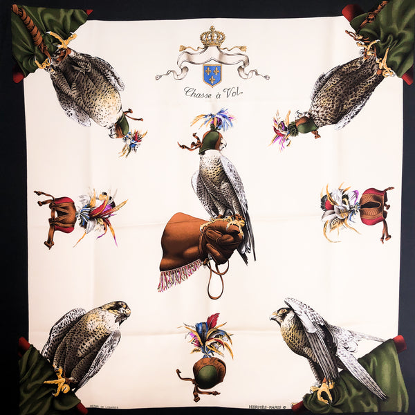 Chasse a Vol Hermes Silk Scarf 90 cm twill