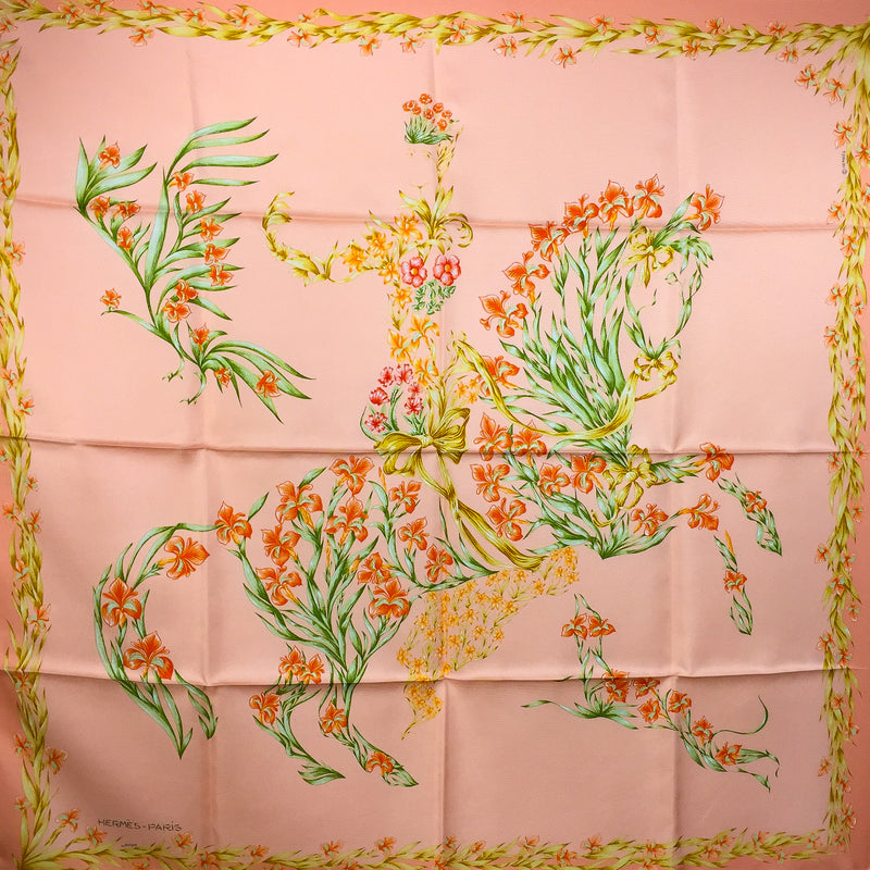 Hermes Cheval Fleuri Silk Scarf Peach Colorway