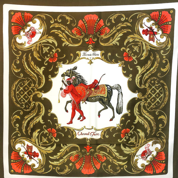 Hermes Silk Scarf Cheval Turc Early Issue 90 cm twill