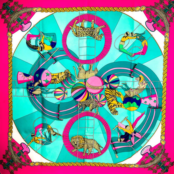 Circus Hermes Silk Scarf in Vibrant Pink and Turquoise 90 cm square